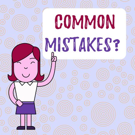 Text sign showing Common Mistakes Question. Business photo text repeat act or judgement misguided making something wrong Woman Standing with Raised Left Index Finger Pointing at Blank Text Box
