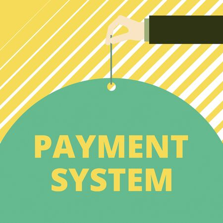 Text sign showing Payment System. Business photo showcasing Compensation Scheme Method used in paying goods and services Man hand hold big half round paper tie string with thumb and index finger
