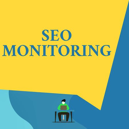 Writing note showing Seo Monitoring. Business concept for Tracking the progress of strategy made in the platform Young man sitting chair desk working open laptop geometric background