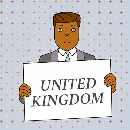 Word writing text United Kingdom. Business photo showcasing Island country located off the northwestern coast of Europe Smiling Man Holding Formal Suit Big Blank Poster Board in Front of Himself