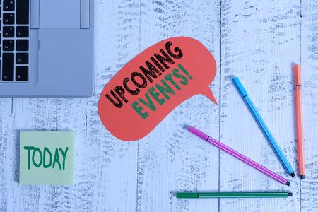 Text sign showing Upcoming Events. Business photo text thing that will happens or takes place soon planned occasion Open laptop speech bubble ballpoints sticky notes vintage wooden table