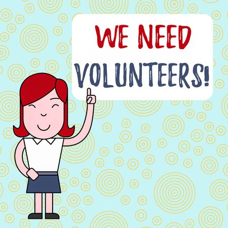 Text sign showing We Need Volunteers. Business photo text someone who does work without being paid for it Woman Standing with Raised Left Index Finger Pointing at Blank Text Box