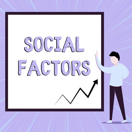 Word writing text Social Factors. Business photo showcasing Things that influences lifestyle Cultural Differences View young man standing pointing up blank rectangle Geometric background 写真素材 - 129370635