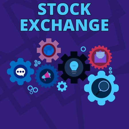 Word writing text Stock Exchange. Business photo showcasing An electronic market where owners of businesses get together Set of Global Online Social Networking Icons Inside Colorful Cog Wheel Gear
