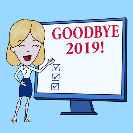 Writing note showing Goodbye 2019. Business concept for express good wishes when parting or at the end of last year White Female in Standing Pointing Blank Screen Whiteboard Presentation