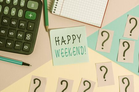 Word writing text Happy Weekend. Business photo showcasing something nice has happened or they feel satisfied with life Mathematics stuff and writing equipment above pastel colours background Standard-Bild - 129360746
