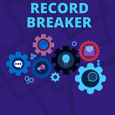 Word writing text Record Breaker. Business photo showcasing someone or something that beats previous best result Set of Global Online Social Networking Icons Inside Colorful Cog Wheel Gear