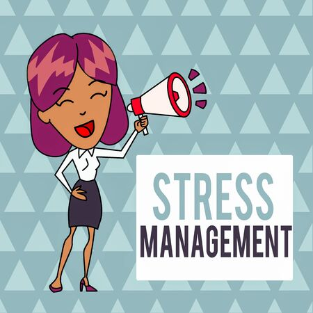 Conceptual hand writing showing Stress Management. Concept meaning method of limiting stress and its effects by learning ways Young Woman Speaking in Blowhorn Colored Backgdrop Text Box