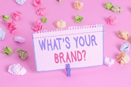 Text sign showing What S Your Brand Question. Business photo showcasing asking about product logo does or what you communicate