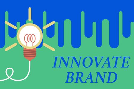 Handwriting text Innovate Brand. Conceptual photo significant to innovate products, services and more Big idea light bulb. Successful turning idea invention innovation. Startup