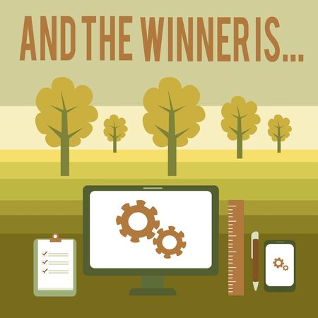 Conceptual hand writing showing And The Winner Is. Concept meaning announcing a demonstrating or thing that wins something Business Concept PC Monitor Mobile Device Clipboard Ruler Фото со стока