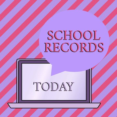Conceptual hand writing showing School Records. Concept meaning Information that is kept about a child at school Biography Round Shape Speech Bubble Floating Over Laptop Backdrop