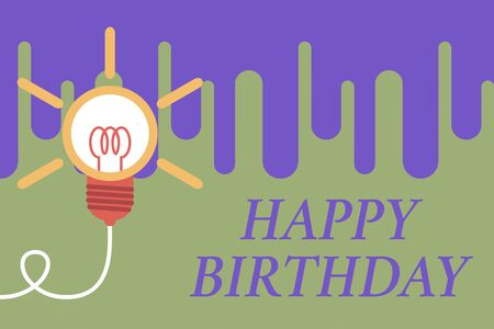 Handwriting text Happy Birthday. Conceptual photo The birth anniversary of a demonstrating is celebrated with presents Big idea light bulb. Successful turning idea invention innovation. Startup