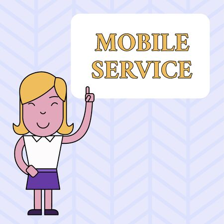 Conceptual hand writing showing Mobile Service. Concept meaning Radio communication utility between mobile and land stations Woman Standing with Raised Left Index Finger Pointing at Box Stock Photo