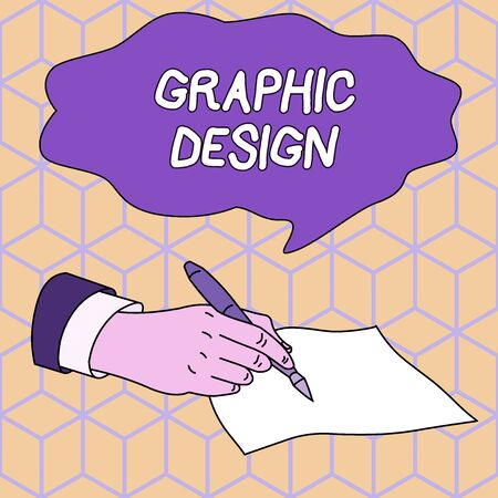 Text sign showing Graphic Design. Business photo showcasing art or skill of combining text and pictures in advertisements Male Hand Formal Suit Holding Ballpoint Pen Blank Piece of Paper Writing