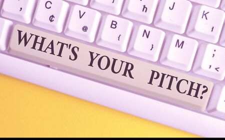 Handwriting text writing What S Is Your Pitch question. Conceptual photo asking about property of sound or music tone White pc keyboard with empty note paper above white background key copy space