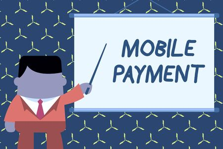 Text sign showing Mobile Payment. Business photo showcasing Cashless Payment made through portable electronic devices Businessman standing in front projector screen pointing project idea Stock fotó