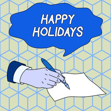 Text sign showing Happy Holidays. Business photo showcasing Made a short journey by a group of showing for pleasure Male Hand Formal Suit Holding Ballpoint Pen Blank Piece of Paper Writing Banque d'images