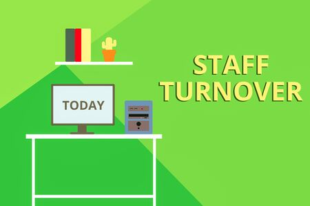 Word writing text Staff Turnover. Business photo showcasing The percentage of workers that replaced by new employees Desktop computer wooden table background shelf books flower pot ornaments