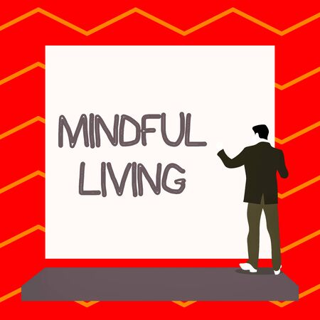Word writing text Mindful Living. Business photo showcasing Fully aware and engaged on something Conscious and Sensible Short hair immature young man stand in front of rectangle big blank board