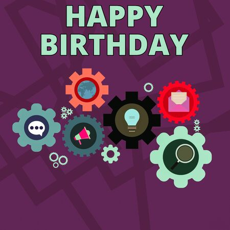 Word writing text Happy Birthday. Business photo showcasing The birth anniversary of a demonstrating is celebrated with presents Set of Global Online Social Networking Icons Inside Colorful Cog Wheel Gear