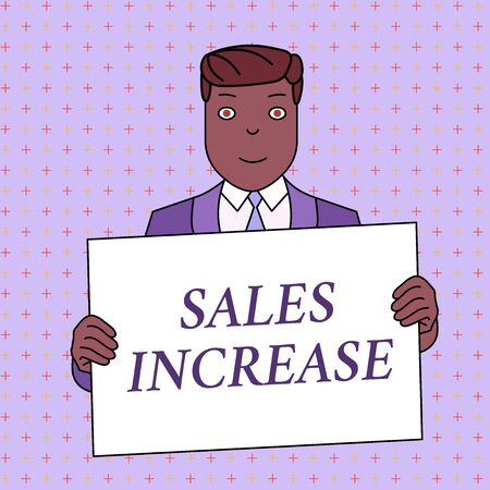Word writing text Sales Increase. Business photo showcasing Grow your business by finding ways to increase sales Smiling Man Holding Formal Suit Big Blank Poster Board in Front of Himself Stock fotó