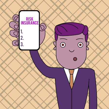Conceptual hand writing showing Risk Insurance. Concept meaning The possibility of Loss Damage against the liability coverage Man Holding Vertical Smartphone Device Screen for Attention