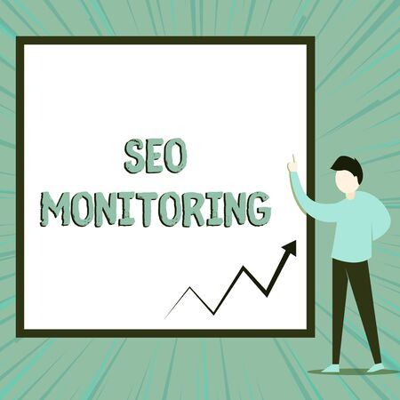 Word writing text Seo Monitoring. Business photo showcasing Tracking the progress of strategy made in the platform View young man standing pointing up blank rectangle Geometric background
