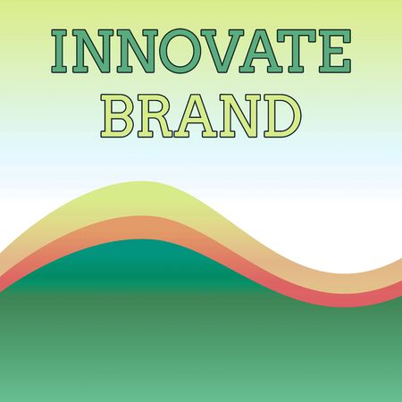 Text sign showing Innovate Brand. Business photo showcasing significant to innovate products, services and more Wavy Abstract Design Three Tone Background with Two Curvy Lines in Center