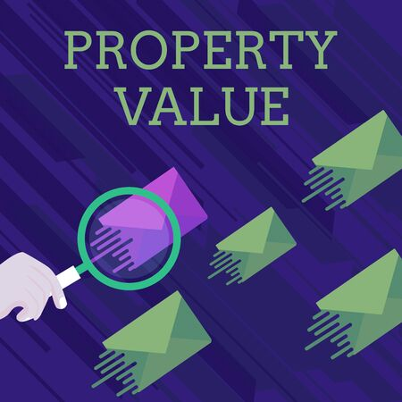 Text sign showing Property Value. Business photo showcasing Worth of a land Real estate appraisal Fair market price Magnifying Glass on One Different Color Envelope and others has Same Shade