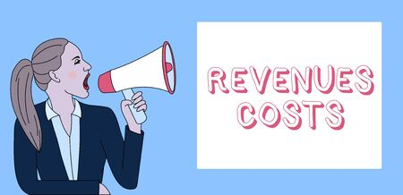 Writing note showing Revenues Costs. Business concept for Total amount of money in Manufacturing and Delivery a product Woman Jacket Ponytail Shouting into Loudhailer Rectangular Box Stock Photo
