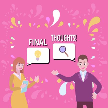 Writing note showing Final Thoughts. Business concept for should be last few sentences within your conclusions Business Partners Colleague Jointly Seeking Problem Solution