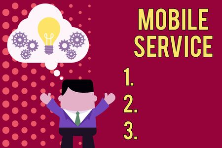 Writing note showing Mobile Service. Business concept for Radio communication utility between mobile and land stations Man hands up imaginary bubble light bulb working together Stock Photo