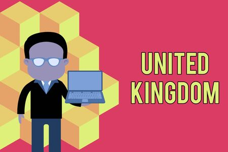 Word writing text United Kingdom. Business photo showcasing Island country located off the northwestern coast of Europe Standing man in suit wearing eyeglasses holding open laptop photo Art