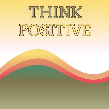 Text sign showing Think Positive. Business photo showcasing The tendency to be positive or optimistic in attitude Wavy Abstract Design Three Tone Background with Two Curvy Lines in Center 版權商用圖片