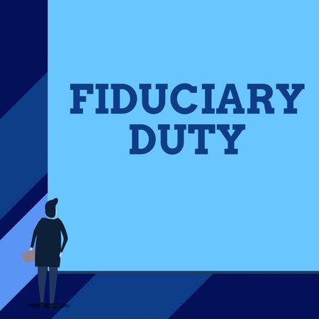 Handwriting text Fiduciary Duty. Conceptual photo A legal obligation to act in the best interest of other Back view young woman watching blank big rectangle. Geometrical background