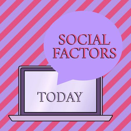 Conceptual hand writing showing Social Factors. Concept meaning Things that influences lifestyle Cultural Differences Round Shape Speech Bubble Floating Over Laptop Backdrop Stok Fotoğraf - 129371904