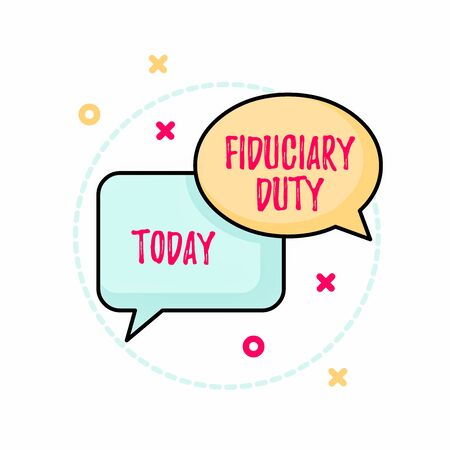 Conceptual hand writing showing Fiduciary Duty. Concept meaning A legal obligation to act in the best interest of other Pair of Overlapping Bubbles of Oval and Rectangular Shape Stock fotó