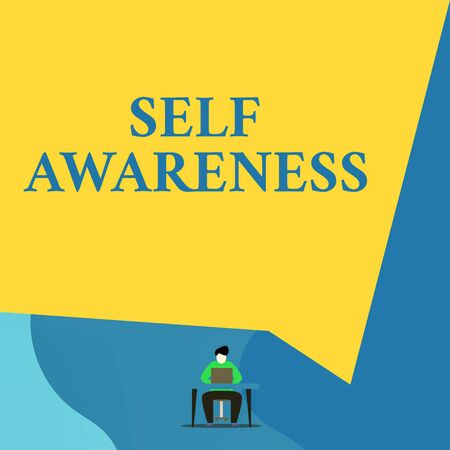 Writing note showing Self Awareness. Business concept for Consciousness of a demonstrating towards a situation or happenings Young man sitting chair desk working open laptop geometric background