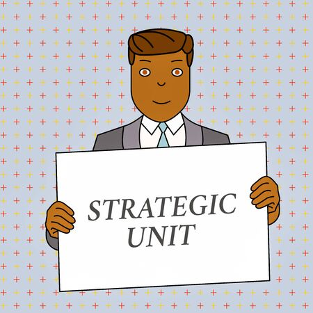 Word writing text Strategic Unit. Business photo showcasing profit center focused on product offering and market segment. Smiling Man Holding Formal Suit Big Blank Poster Board in Front of Himself