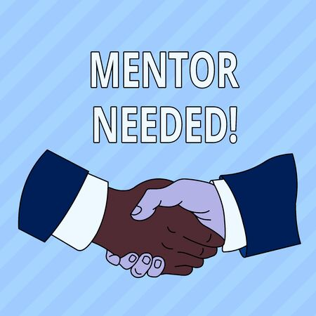 Handwriting text Mentor Needed. Conceptual photo Employee training under senior assigned act as advisor Hand Shake Multiracial Male Business Partners Colleagues Formal Shirt Suit
