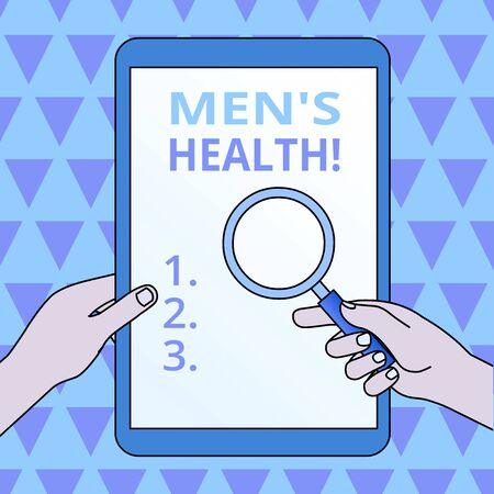 Conceptual hand writing showing Men S Health. Concept meaning state of complete physical mental and social well being by analysis Hands Holding Magnifying Glass Against Switched Off Tablet Banco de Imagens