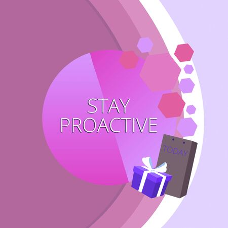 Text sign showing Stay Proactive. Business photo text Taking own decision to go ahead of anticipated events Greeting Card Poster Gift Package Presentation Box Decorated by Bowknot 版權商用圖片