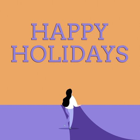 Conceptual hand writing showing Happy Holidays. Concept meaning Made a short journey by a group of showing for pleasure Back view young long hair woman holding blank square announcement Фото со стока