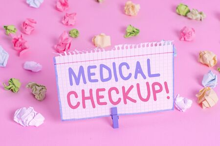 Text sign showing Medical Checkup. Business photo showcasing thorough physical examination includes variety of tests