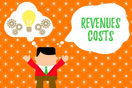 Writing note showing Revenues Costs. Business concept for Total amount of money in Manufacturing and Delivery a product Man hands up imaginary bubble light bulb working together