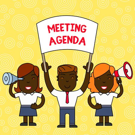 Word writing text Meeting Agenda. Business photo showcasing An agenda sets clear expectations for what needs to a meeting People with Blank Banner, Megaphone and Spy Glass Peaceful Demonstration Фото со стока