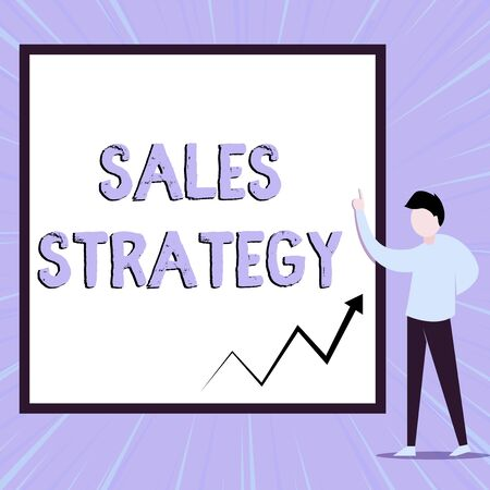 Word writing text Sales Strategy. Business photo showcasing Plan for reaching and selling to your target market Marketing View young man standing pointing up blank rectangle Geometric background
