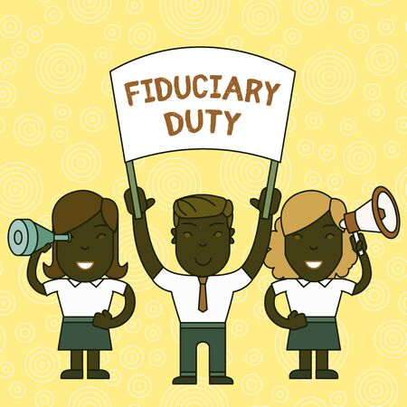 Word writing text Fiduciary Duty. Business photo showcasing A legal obligation to act in the best interest of other People with Blank Banner, Megaphone and Spy Glass Peaceful Demonstration