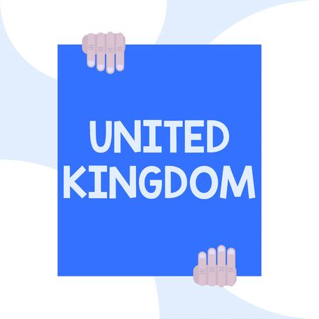 Handwriting text writing United Kingdom. Conceptual photo Island country located off the northwestern coast of Europe Two hands holding big blank rectangle up down Geometrical background design